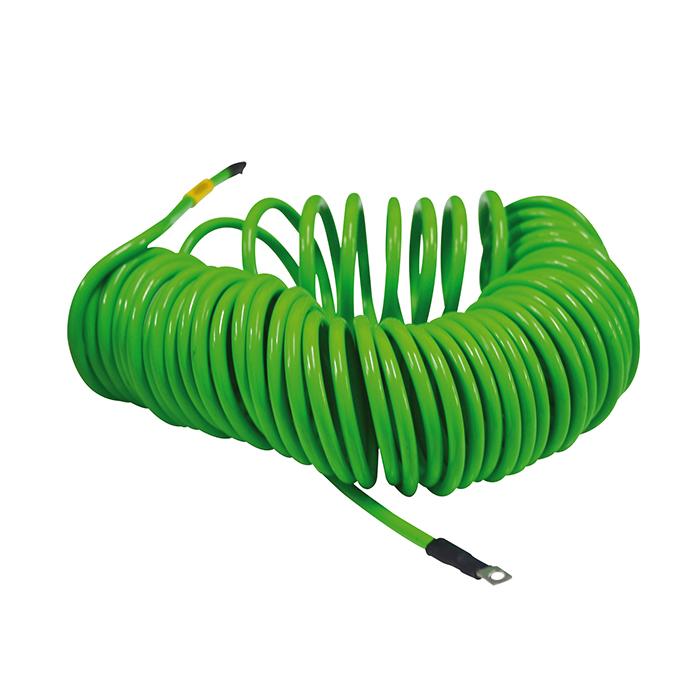 Cable espiral verde puesta a tierra